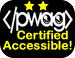 PWAG Certified Accessible Logo with two yellow stars on top of PWAG html logo