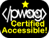 PWAG Certified Accessible Logo with one yellow star on top of PWAG html logo